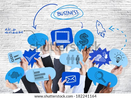 Business People Holding Speech Bubbles And Social Networking - stock photo