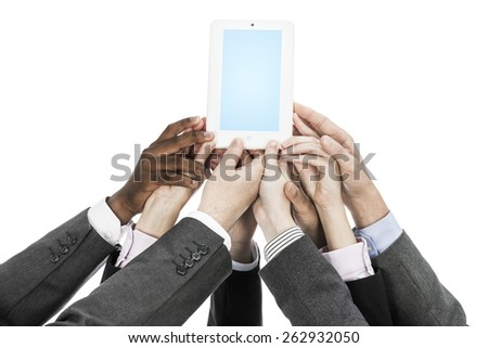 Business people holding tablet - stock photo