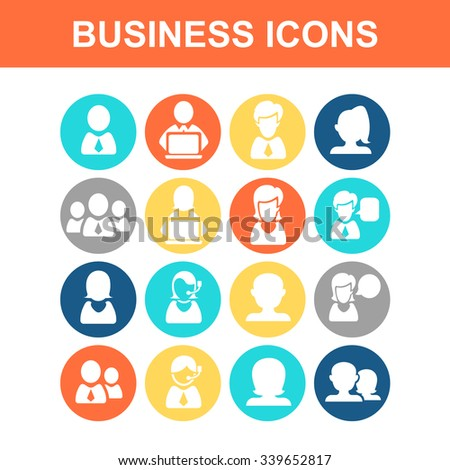 Business people icon set - Flat Series