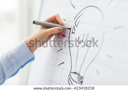 business, people, idea, startup and education concept - close up of hand with marker drawing light bulb on flip chart at office - stock photo