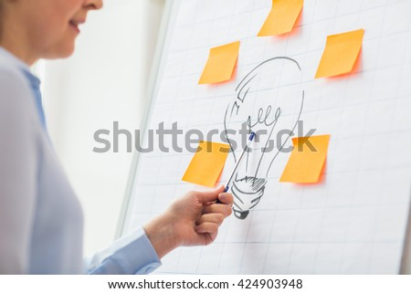 business, people, idea, startup and education concept - close up of woman pointing to light bulb drawing on flip chart at office - stock photo