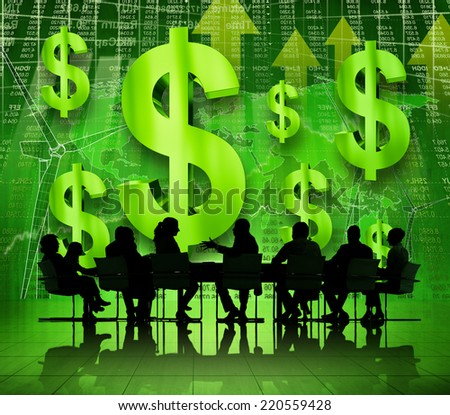 Business people in financial discussion - stock photo