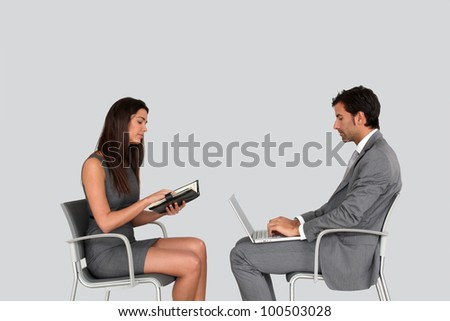 Business people in meeting- isolated - stock photo