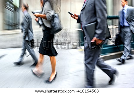 business people in the street and a blurred background