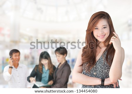 Business people in the studio, cheerful and motivated - stock photo
