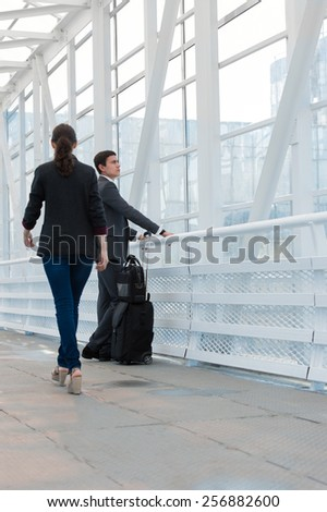 Business people in urban environment of airport  - stock photo
