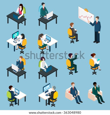 Business people isometric pictograms collection - stock photo