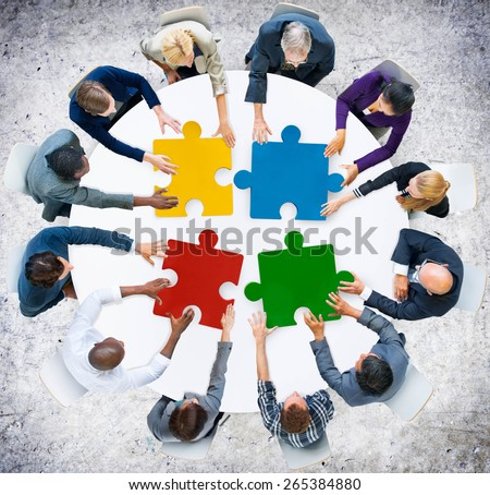 Business People Jigsaw Puzzle Collaboration Team Concept - stock photo