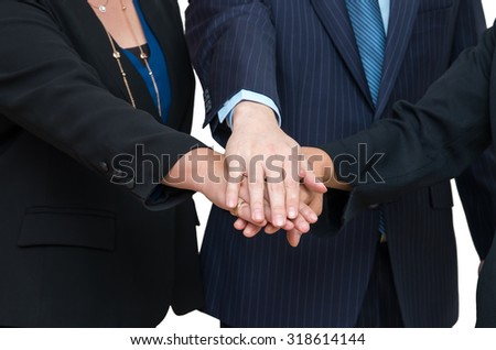 Business people joined hands together, Teamwork concept