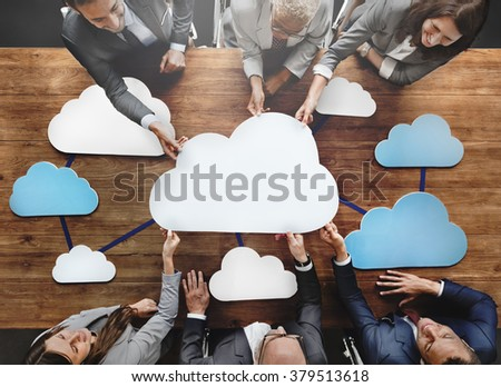 Business People Joining Cloud Teamwork Concept - stock photo