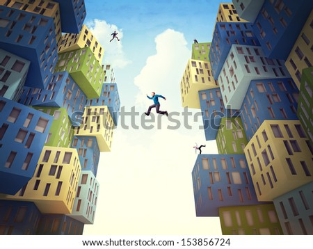 business people jump over abstract building - stock photo