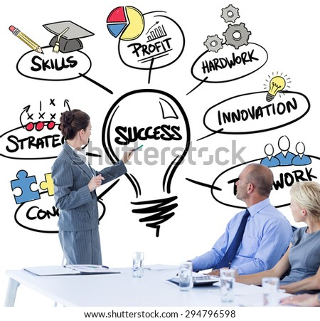 Business people looking at meeting board during conference against success doodle - stock photo