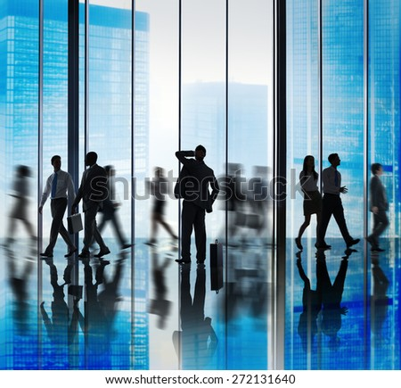 Business People Lost Rush Hour Walking Office Concept - stock photo
