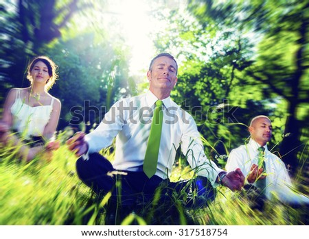 Business People Meditating Nature Relaxation Concept - stock photo