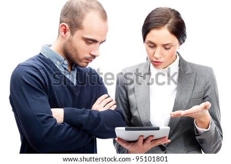 Business people meeting and discussing their plans using tablet computer - stock photo
