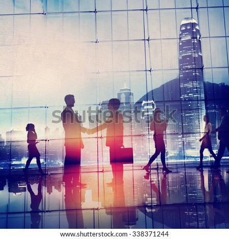 Business People Meeting Commuter Greeting Handshake Concept - stock photo