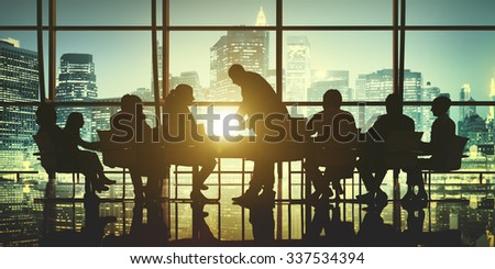 Business People Meeting Discussion Cityscape Concept