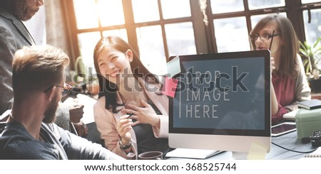 Business People Meeting Drop Image Here Copy Space Concept - stock photo