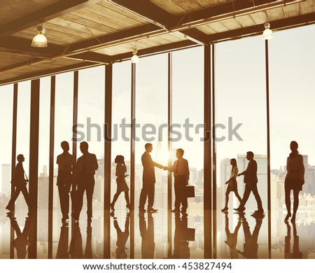 Business People Meeting Greeting Agreement Handshake Concept - stock photo