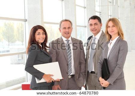 Business people meeting in congress hall - stock photo