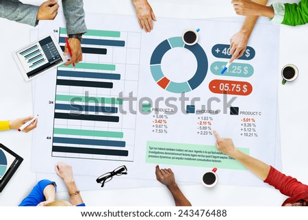 Business People Meeting Planning Analysis Statistics Brainstorming Concept - stock photo
