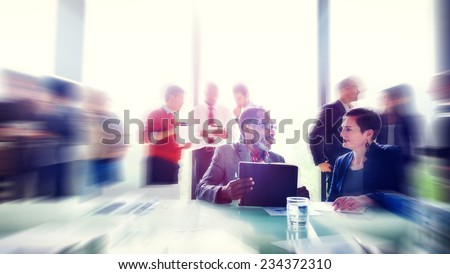 Business People Meeting Seminar Sharing Talking Thinking Concept - stock photo