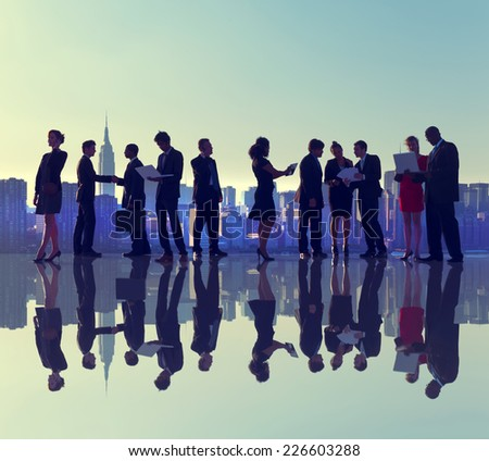 Business People New York Outdoor Meeting Silhouette Concept - stock photo