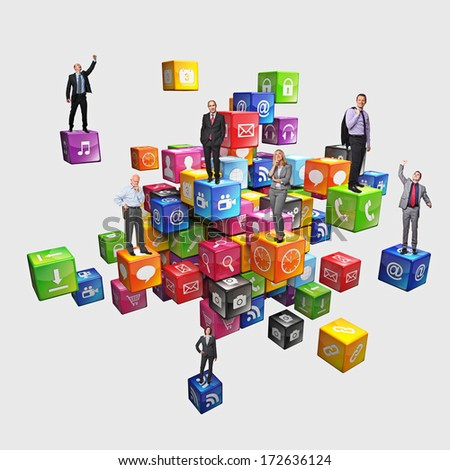 business people on abstract icons cubes - stock photo