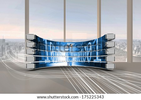 Business people on abstract screen against abstract white line design in room