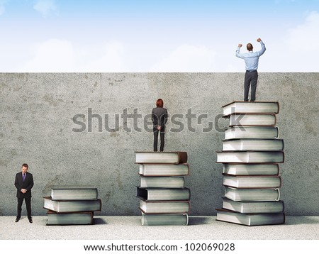 business people on books pile 3d - stock photo
