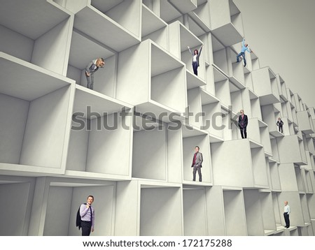 business people on 3d abstract architecture - stock photo