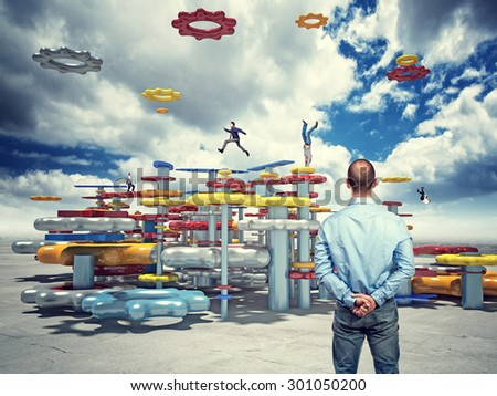 business people on 3d abstract life machine - stock photo