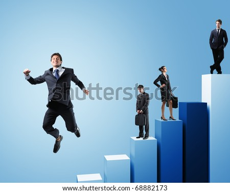 business people on 3d chart background
