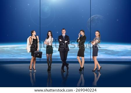 Business people on globe background - stock photo