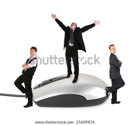 business people on mouse collage