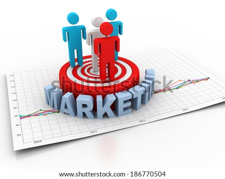 Business people on target market - stock photo