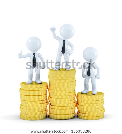 Business people on top of euro coin piles. Money making concept. Isolated on white background - stock photo