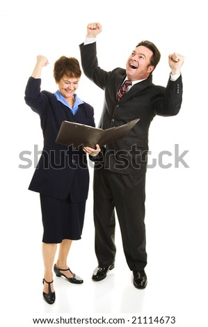 Business people overjoyed by a positive financial report.  Full body isolated on white.