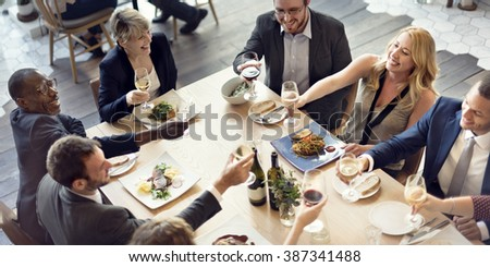 Business People Party Cheers Enjoying Food Concept - stock photo