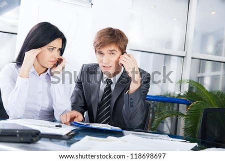 business people phone talk problem negative emotion, businessman call cellphone bad news, stress businesswoman sad terrified, working on meeting sitting at office desk