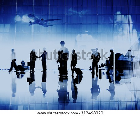 Business People Pilot Corporate Airport Travel Flight Concept - stock photo