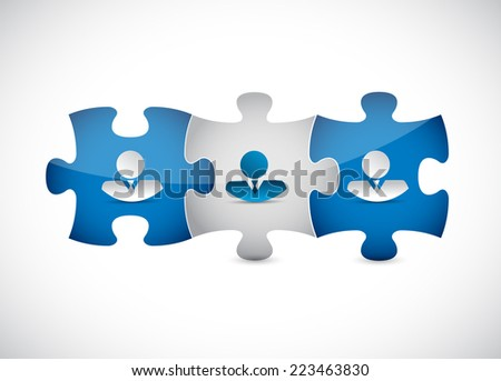 business people puzzle pieces illustration design over a white background - stock photo