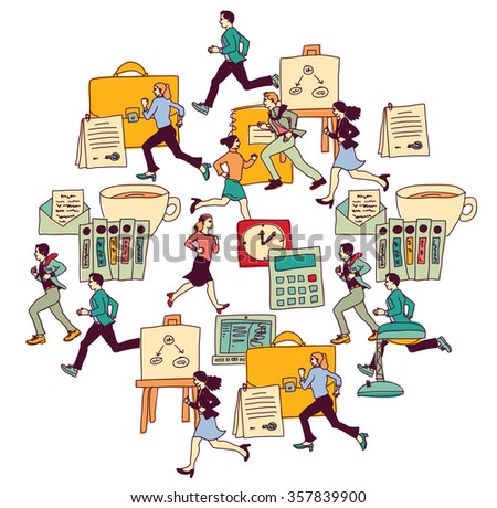Business people run in office isolate white. Big group people. Color illustration.  - stock photo