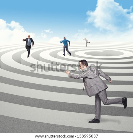 business people run on 3d spiral