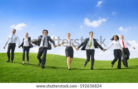 Business People Running down from the hill - stock photo