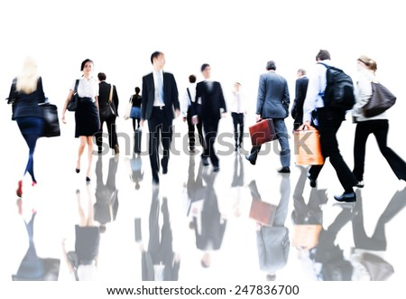 Business People Rush Hour Walking Commuting Concept - stock photo
