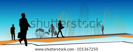 business people rushing in front of city skyline - stock photo