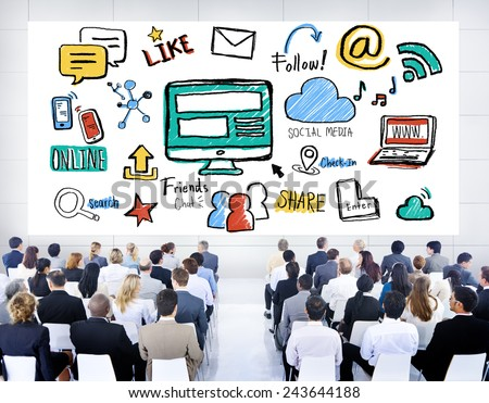 Business People Seminar Global Communications Social Media Concept - stock photo