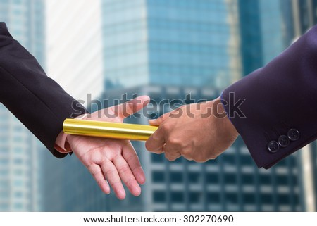 Business people send baton to Partnership with teamwork concept. - stock photo