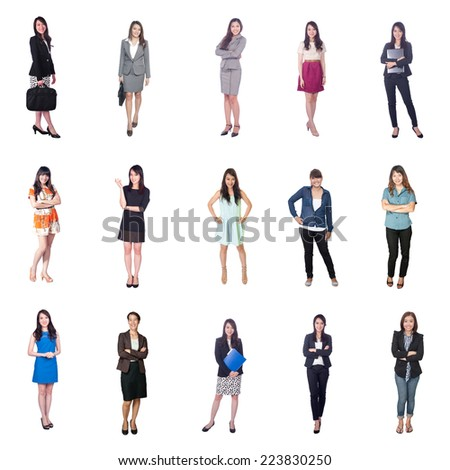 business people set on white background